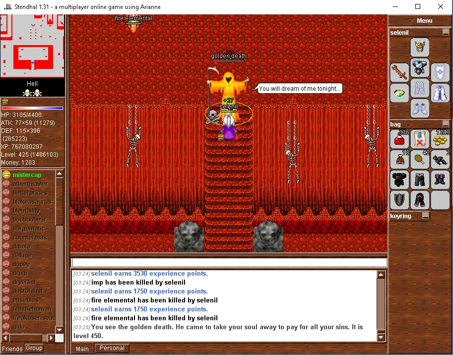 Killing the Golden Death in Hell solo; a level 450 final boss. Not the hardest to defeat, but certainly the hardest to find, with only one in the game, on a 20 hour randomized timer, in Hell ... which kicks you out, even in the middle of your battle, if it determines (randomly) that you've been there too long. This is the only creature to drop the Golden Blade, 0.5% chance, easily the best and most sought after weapon in the game. So in addition all the other barriers, this boss will often be camped heavily, and if PvP or KS is going to occur, it will most likely be here. I was very lucky to find him alone and undisturbed. Two full sets of armor are recommended, Light (Mithril + Magic) for the Golden Death, and Dark (Black) for everything else in Hell.