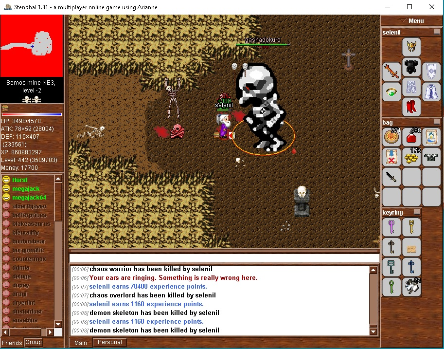 Fighting solo the level 500 giant monstrosity Gashadokuro. It is said that the bones of the dead raise this creature fifteen times higher than a person's head. Formed from the bones of starved humans and slain warriors, left unburied upon the land. Gash is of neutral type, so take the strongest weapon and armor you have to meet him, ignoring all elemental resistances.